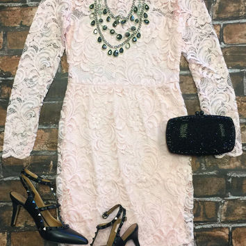 From the Heart Lace Dress: Pink