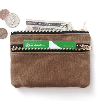 Waxed Canvas Wallet Coin Purse Double Zipper Pouch Tan