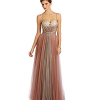 Mignon Beaded Brocade Sweetheart Gown - Quartz