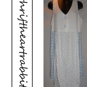 Vintage French Laundry Nightie Dress Blue Floral White Tank
