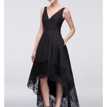 Taffeta High-Low Ball Gown with Wide Lace Hem - Davids Bridal