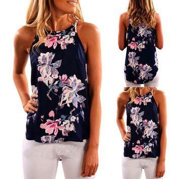 Women Sleeveless Flower Printed Tank Top Casual Blouse Vest T Shirt