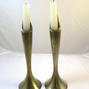 Vintage Brass Candlestick Pair Calla Lily Candle Holders  Antique Brass Flower Candleholders Museum Reproduction Art Deco 9.5 inches
