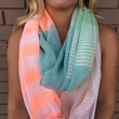 Mint & Coral Stripe Infinity Scarf - Mint & Coral Stripe Infinity Scarf
