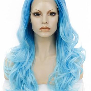 Sky Blue Ombre Wave Long Synthetic Lace Front Wig