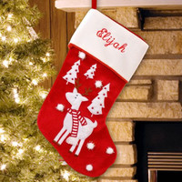 Reindeer and Trees Christmas Stocking