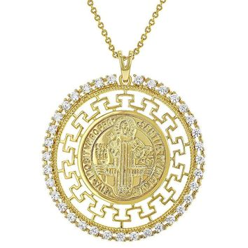 18k Gold Plated Clear CZ St Saint Benedict Greek Key Medal Pendant for Women 19""