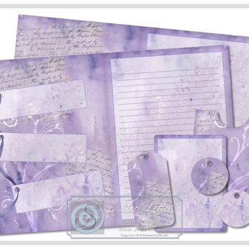 Journal Kit, Printable Stationery, Scrapbooking Kit, Paper Craft Supplies, Instant Download - Lilac Letter