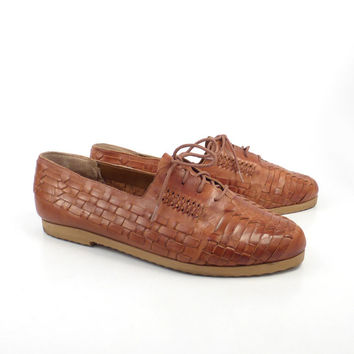 Woven Oxford Shoes Vintage 1980s Cherokee Carmel Brown Lace Up  Leather Men's 10 1/2