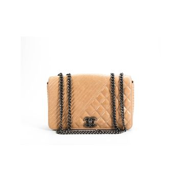 Chanel Pre-Owned - Chanel Tan Calfskin Coco Boy Flap Bag | Bluefly.Com