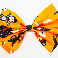 "Large Halloween Orange Hair Bow with French Barrette 6""x5"""