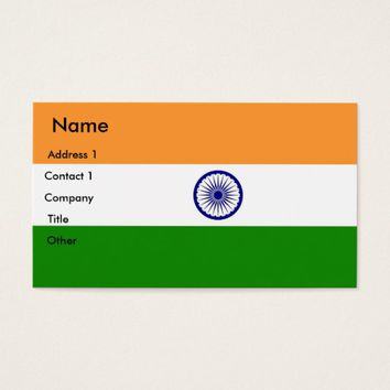 Business Card with Flag of India
