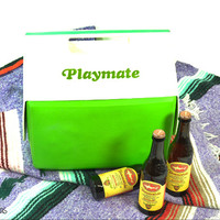 Vintage Igloo Playmate Cooler • Side Button • Green + White • 80s Lunchbox • Ice Box • Drink Holder • Camping Cooler • Tailgate City