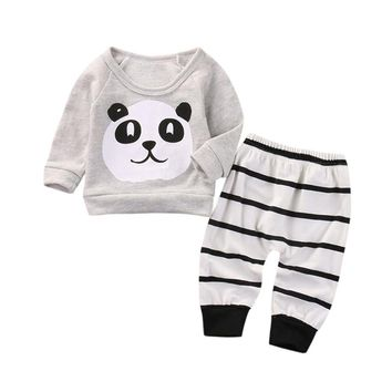 Spring Autumn cartoon baby clothes sport suit for boy girls costume Panda Gray shirt tops +Stripe pants 2pc/ set Kids' things