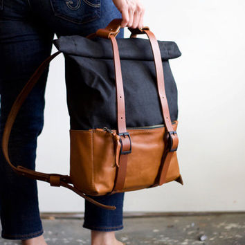 The Ace Backpack in Caramel Leather & Black Waxed Canvas - Unisex Travel Bag Rucksack - Awl Snap Leather Goods