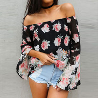 Floral Off-Shoulder Bell Sleeve Blouse