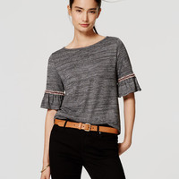 Embroidered Ruffle Cuff Top | LOFT
