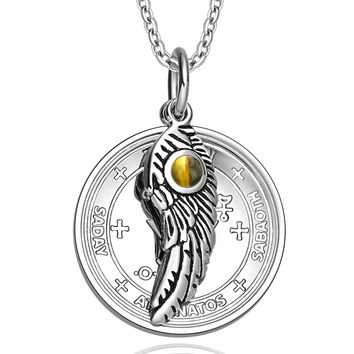 Archangel Michael Sigil Amulet Magic Powers Angel Wing Charm Tiger Eye Pendant 18 Inch Necklace