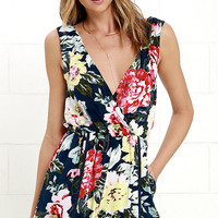 Mink Pink Nothing Like the Wild Blue Floral Print Romper