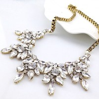 Yazilind European Gorgeous Gold Tone Crystal Joint Chain Collar Bib Temperament Necklace
