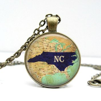 North Carolina State Necklace : NC State Necklace. State Jewelry. North Carolina Jewelry