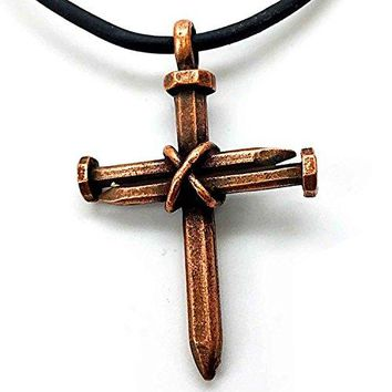 SHIP BY USPS: Antique Nail Cross Necklace In Copper