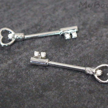 Heart & Key Nipple Barbell
