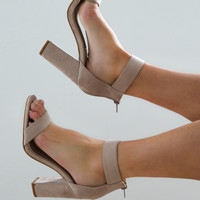 channel heels by billini in nude
