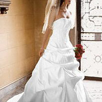 Satin and Taffeta Gown with Beaded Metallic Lace