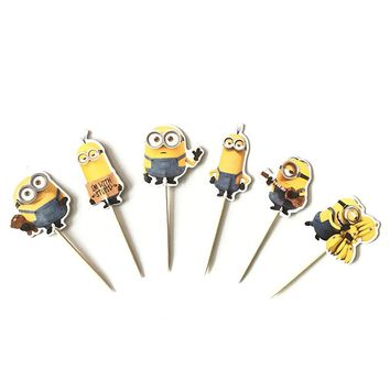24pcs Minions Despicable Me Cupcake Toppers Ice Cream Candy Bar With Bamboo Birthday Party Supplies Kids Baby Shower Decorations