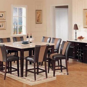 7 pc britney white marble top counter height dining table set with brown leather like vinyl upholstered parson chairs