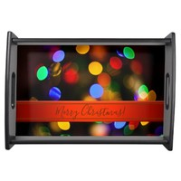 Multicolored Christmas lights. Add text or name. Serving Tray