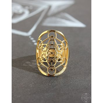 "Sacred Geo Ring - Metatron Cube ""Gold"""