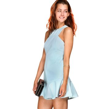 Graceful Round Collar Sleeveless Pure Color A-Line Dovetail Dress for Women