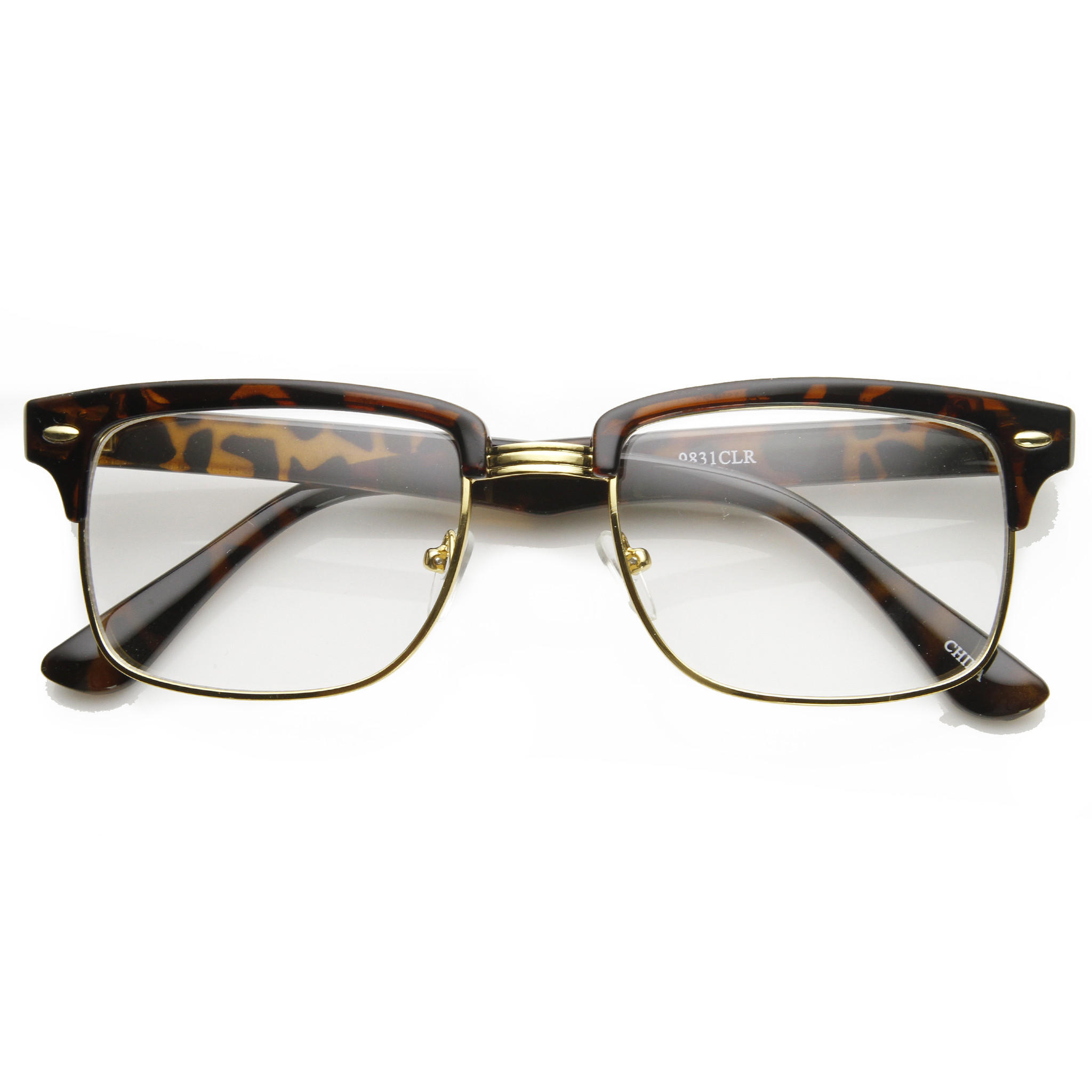 Half Frame Square Glasses : Classic Square Vintage Clear Lens Half from zeroUV ...