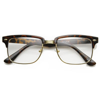 Classic Square Vintage Inspired Clear Lens Half Frame Horned Rim Glasses 9185