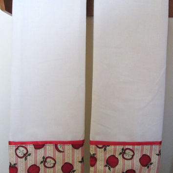 Scattered Apples Kitchen Towels, Certified Organic Muslin with Cotton Trim, Extra Large, Set of 2