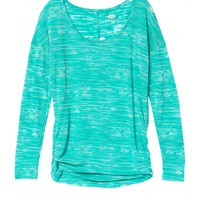 sea green cinched side long sleeve striped burnout tee