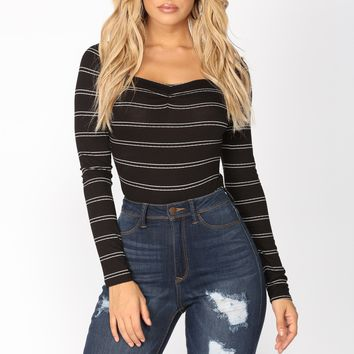 Anneliese Striped Bodysuit - Black/White