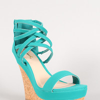 Qupid Nubuck Open Toe Strappy Cuff Cork Platform Wedge