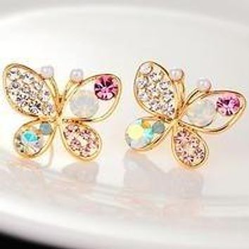 Women Imitation Rhinestones Butterfly Earrings