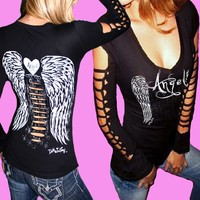 DIY Sexy L/S Tattoo Angel Wings Goth Biker Caged Cut-out Slashed Tee Top S/M/X/L
