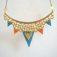 Geometric Bib, Brass and Wood Triangles Bib,Wood Tribal Necklace,Geometric Jewelry
