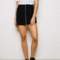 Don't Ask Why Cord Zip Front Skirt, Navy