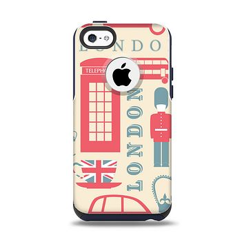 The Vector London Time Red Apple iPhone 5c Otterbox Commuter Case Skin Set