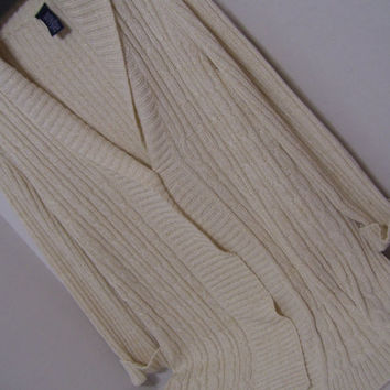 Long Cardigan Sweater Fisherman's Natural Winter White  Cable Knit Flecks of Gold Thread  Fall Winter  Resort Cruise Wear