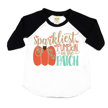 Sparkliest Pumpkin In The Patch Kids Raglan Shirt