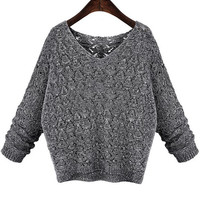 Grey V-Neck Long Sleeve Knitted Sweater