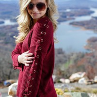 Liam Lace-Up Sleeve Sweater, Burgundy