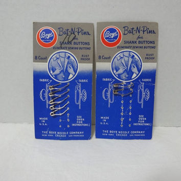 1950s Vintage Cards of Boye But-N-Pins for Shank Buttons, 7 Pins, 2 Sizes, Original Package, Home Sewing Notion, Vintage Sewing Decor